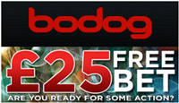 A neat £25 is what awaits you. Visit Bodog sports book to find out more.